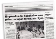 Empleados del hospital moralo piden un lugar de trabajo digno M