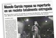 Manolo García repasa su repertorio en un recinto totalmente entregado M