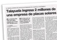 Talayuela ingresa 2 millones de una empresa de placas solares M