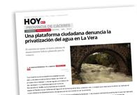 Una plataforma ciudadana denuncia la privatización del agua en La Vera