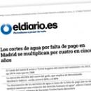 Los cortes de agua por falta de pago en Madrid se multiplican por cuatro en cinco años