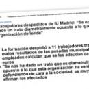 Trabajadores despedidos de IU Madrid