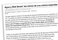 Agua y Wall Street